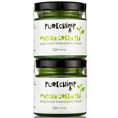 PureChimp Matcha Green Tea Powder | Regular/Lemon/Mint/Turmeric 50g Jars [Packs of 2] | Ceremonial Grade from Japan | All Natural & Vegan | Pesticide-Free (2 x Regular )
