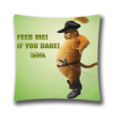 FlowerArtC1507-High Qulity Feed Me If You Dare Puss In Boots Shrek Forever After Pillow Cover Decorative Pillowcase 18 x 18-Christmas Decorative (Boots In Shrek Puss)