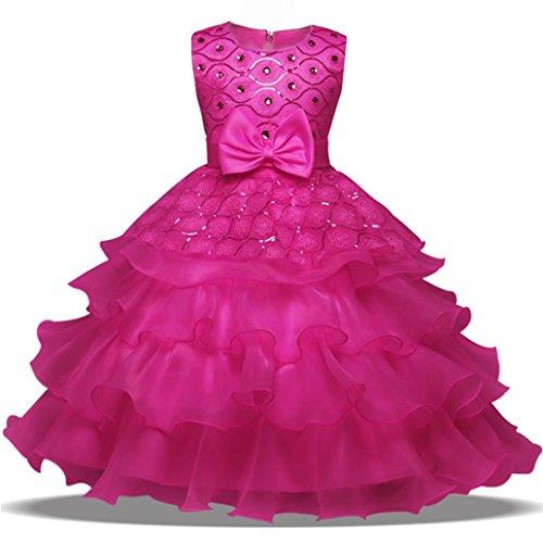 ❤️Kobay Blumen-Baby-Mädchen-Prinzessin Bridesmaid Festzug-Kleid-Geburtstags-Party-Hochzeits-Kleid (110/3Jahr, Heiß Rosa)