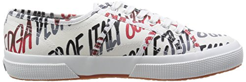 Superga 2750 Fantasy, Damen Schnürsneaker Writing Grey-Red
