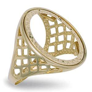9ct Yellow Gold 25mm Basket Sides Full Sovereign Ring - Q