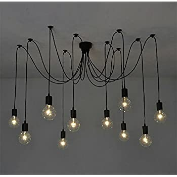 10pcs e27 douille eclairage de plafond retro suspensions luminaires vintage plafonnier lustre. Black Bedroom Furniture Sets. Home Design Ideas