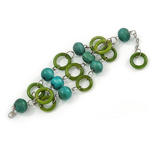Teal Finish Holz (3Strand Gras Grün/Blaugrün Holz Perle und Loop Armband in Silber Tone Metall–21cm L/5cm Verlängerung)