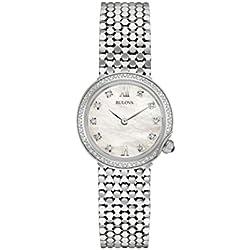 Bulova Reloj de diamantes señoras diseñador de la mujer de pulsera–Reloj de pulsera de acero inoxidable 96W206