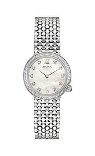 Bulova, Designer Diamant-Armbanduhr für Damen, mitEdelstahl-Armband, 96W206