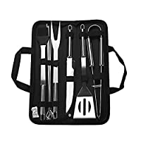 ‏‪Barbecue Accessory Kit Grill Tool Set Versatile Portable Outdoor Indoor Barbecue Knife, Fork, Spatula, Tong, Basting Brush and Skewers with Storage Case Stainless Steel BBQ 9-piece Unit‬‏