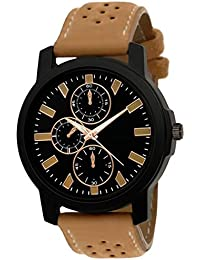 Kairos Analogue Black Dial Brown Leather Strap Stylish Watch - For Men