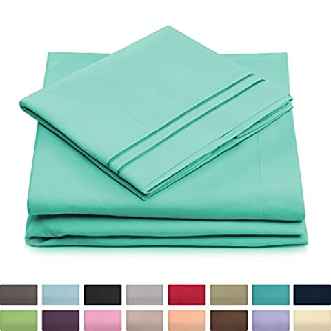 Cosy House Luxury Bed Sheets, Set of 4 : Silky Soft Microfiber Bedding, Brushed, 1500 Series | Deep Pocket Fitted Sheet, Flat Sheet & 2 Pillowcases | Wrinkle Free, Hypoallergenic, QUEEN, Pastel