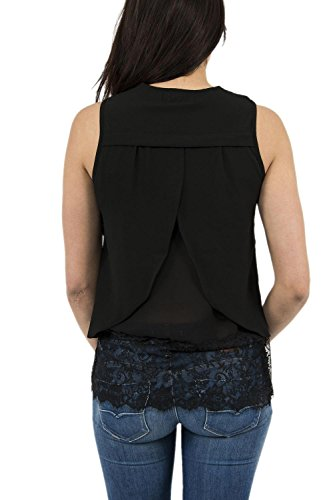 Molly Bracken Damen Pullunder Top Twin Dentelle Noir (Black)