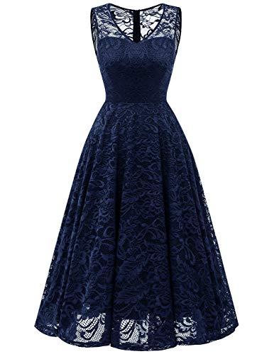 Meetjen Damen Elegant Spitzenkleid V-Ausschnitt Unregelmässig Vokuhila Kleid Festlich Cocktail Abendkleid Midi Navy S Kleid Jacke Rock