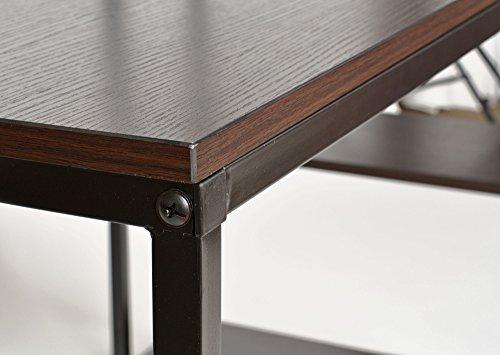 Ts ideen bureau table étagère réglable intégrée noir montage à