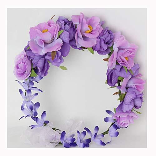 0440602fd272e LYM Couronne de Fleurs Fleurs Bandeau Festival de Mariage Corolla Chapeaux  Accessoires (Couleur : A