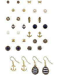 """SIX """"Marine"""" 16 Ohrstecker, Damen Ohrringe, earrings in einem Set, maritim, gold, blau, weiß, Anker Weihnachtsgeschenk (459-020)"""