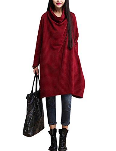 Youlee Donne Cappuccio Collo Plaid A-line Knit Vestito Rosso XL