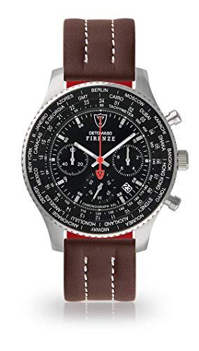 DETOMASO Firenze XXL Herren-Armbanduhr Chronograph Analog Quarz Silbernes Edelstahl-Gehäuse Schwarzes Zifferblatt (Leder - Braun (Naht: Weiß))