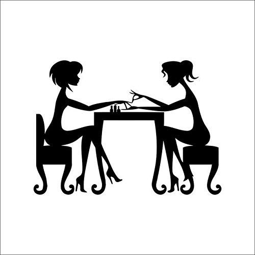 Weaeo Wandaufkleber Nagel-Bar-Shop-Haar-Schönheits-Salon-Wand-Kunst-Abziehbild DIY Hauptdekoration-Wandbild Entfernbarer Nagellack-Ölspeichername (Haar-salon-kunst)