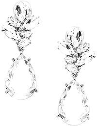 Schmuckanthony Hochzeit ABI Glamour Lange Silber Ohrclips Clip On Clips Ohrringe Feder Design Schmuck Kristall klar Transparent 6,5cm lang