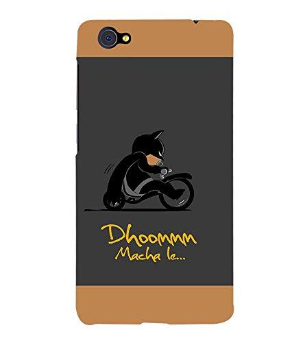 Takkloo Dhoom macha le ( Bat in Black, Super hero on black bike, man wearing black mask, Cartoon, Grey Background) Printed Designer Back Case Cover for Vivo X5Pro :: VivoX5Pro  available at amazon for Rs.399