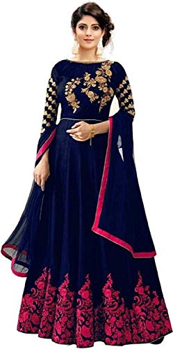 Florely Women\'s banglori Silk Blue Semi-Stiched Anarkali Gown(Blue and Pink_Free Size)