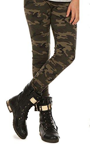 Camouflage Mädchen Thermo Leggings Leggins Hose Militär Winter Herbst hk293 116 Khaki
