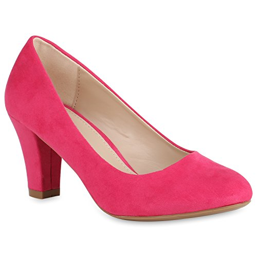 Stiefelparadies Klassische Damen Pumps Business Schuhe Basic Wildleder-Optik Heels 157351 Pink 38 Flandell
