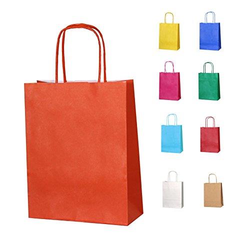 (10 Orange Papierpartytüten mit Griffen - Wählen Sie Ihre Größe und Farbe)