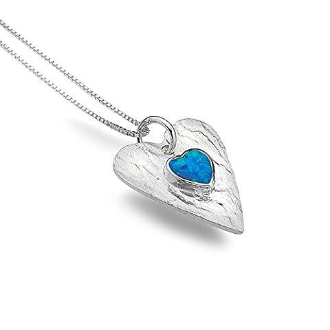 Sea Gems Sterling Silver Blue Opal Textured Heart Pendant 18