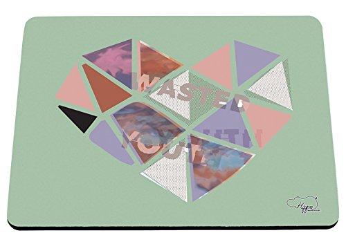 80 ' S Tee (hippowarehouse Wasted Youth Love Herz gedruckt Mauspad Zubehör Schwarz Gummi Boden 240mm x 190mm x 60mm, mint, Einheitsgröße)