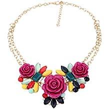 Collar - SODIAL(R)Collar de cadena de babero de flores rosa de perla de diamantes de imitacion de moda -Roseo