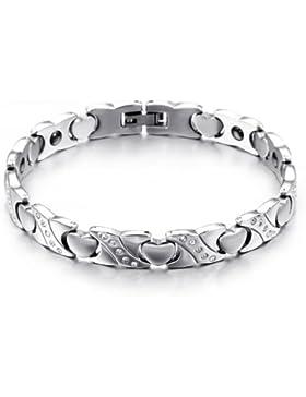 JewelryWe Schmuck Edelstahl Armband Magnetarmband Liebe Herz Link Gesundheit Magnet Partnerarmbänder Damenarmband...