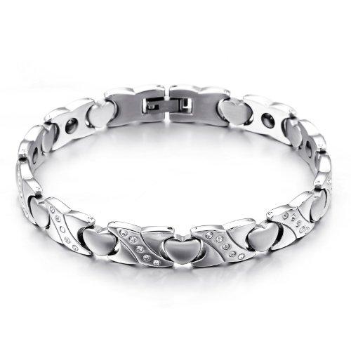 JewelryWe Schmuck Edelstahl Armband Magnetarmband Liebe Herz Link Gesundheit Magnet...