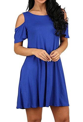Women's Summer Casual Cold Shoulder Tunic Top Loose Simple Short Sleeve T-shirt Swing Dress