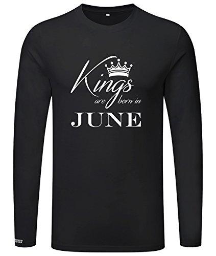 Kings are born in June - Geburtstag - Herren Langarmshirt Schwarz