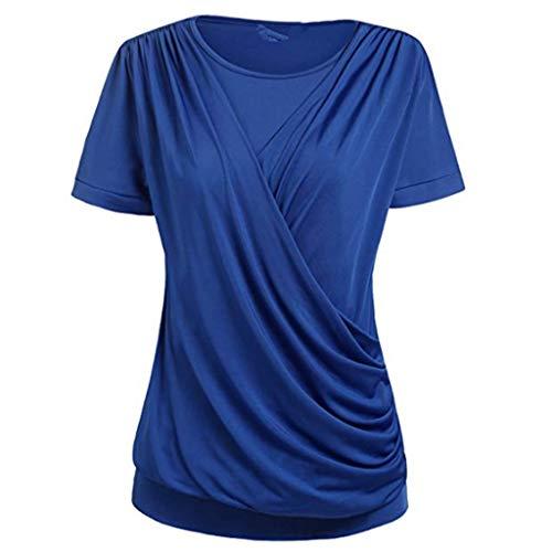 Blusen Damen O-Ausschnitt Locker Oberteile Boho Drucken Kurzarm Tunika Kalte Schulter T-Shirts Ärmellos Bluse Langarmshirts Casual Top -