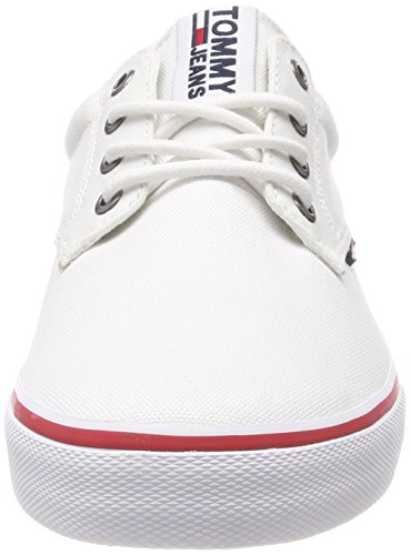 Hilfiger Denim Tommy Jeans Textile Sneaker, Scarpe da Ginnastica Basse Uomo Bianco (White 100)