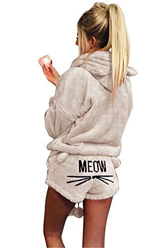 Landove Pigiama Due Pezzi Donna Invernale Travestimento Cosplay Costume da Gatto Orso Polare Caldo Morbida Flanella Pigiami Animali Interi e Camicie da Notte Sleepwear Regalo di Compleanno Nat