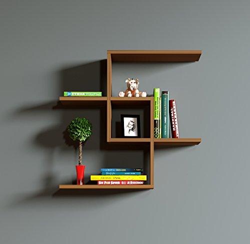 CHAIN Étagère murale - étagère à livres pour décoration de salon en bois dans un design moderne (Noyer)