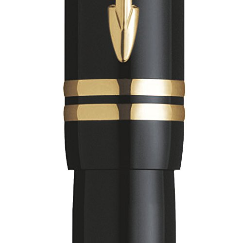 Cheapest Price for Parker S0690430 Duofold Fountain Pen, Medium Nib – Black International with Gold-Plated Trim