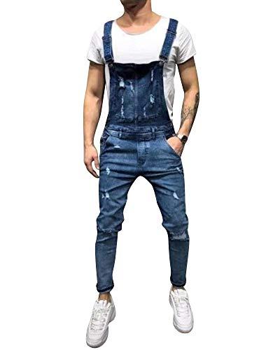 Petos De Pantalones Vaqueros De Mono para Hombre Bolsillo Rotos Liga Babero Pantalón Azul Marino M