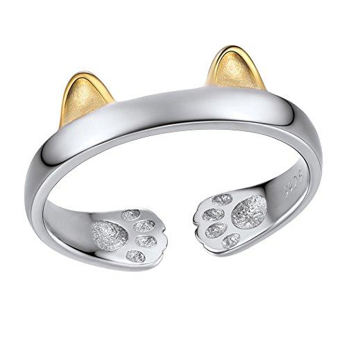 SILVERCUTE Damen Ring Kätzchen Katze Ohren verstellbar Ring 925 Sterling Silber offener Ring Gelbgold überzogen Süßer zweifarbiger Schmuck für Mädchen - mit Rosa Geschenkbox