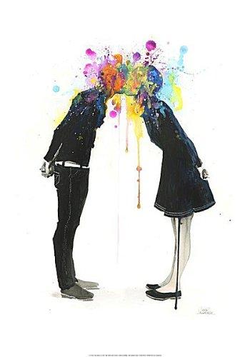 Big Bang Kiss Lora Zombie Fantasy ODD Weird illustrazione Romance figurative Stampa poster 35,6x 50,8