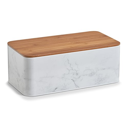 Zeller 19332 Marmor m. Bamboodeckel Brotkasten, Metall, weiß, 42.5 x 22.9 x 16.5 cm