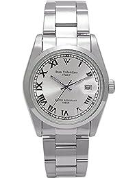 Izax Valentino - Reloj de acero inoxidable con índice romano, color plateado IVG-250