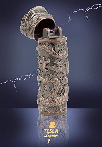 Tesla-Lighter T02 | Lichtbogen Feuerzeug, elektronisches USB Feuerzeug, Single-Arc Lighter, wiederaufladbar - verschiedene Farben (Kuper-Drache)