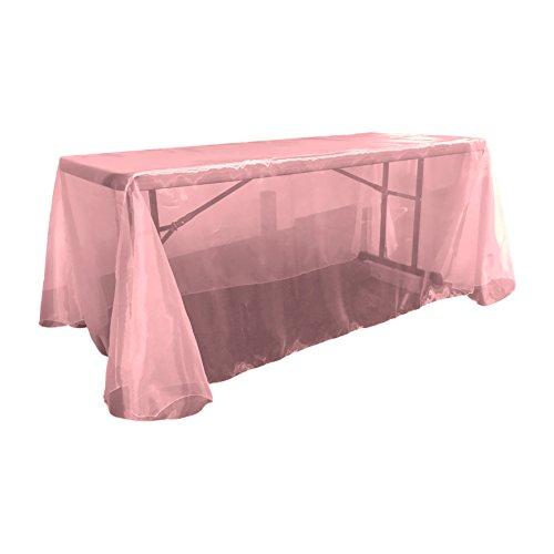 La Leinen Sheer Spiegel Organza Tischdecke, rechteckig, Polyester, hot pink, 228.6 x 335.28 x 0.022 cm -