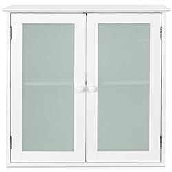 HOMFA Armario de pared para baño Armario aéreo para colgar en pared Armario Baño con puerta de cristal y 2 estantes interior MDF 60 x 20.5 x 60cm Color blanco