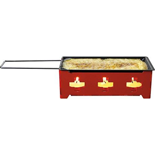Nouvel 3-teiliges Mini Raclette - Gerät für 1-2 Personen ohne Strom - Teelicht Raclette «H'eat Cheese!» Schweizer Stil - Tischraclette mit Spatel und antihaftbeschichteten Pfännchen - Käseschmelzen