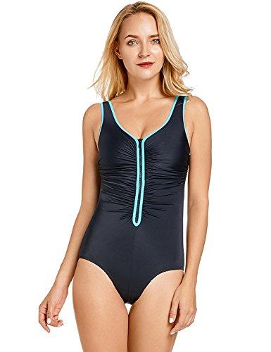 Delimira Damen Einteiler Badeanzug - Vorne Reißverschluss,Schale Slim Bademode Mehrfarbig #3 38 (Tankini Modest Badeanzüge)