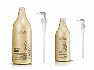 L'Oréal Professionnel Serie Expert Absolut Repair Lipidium Shampoo 1500ml, Conditioner 750ml et pompe Bundle