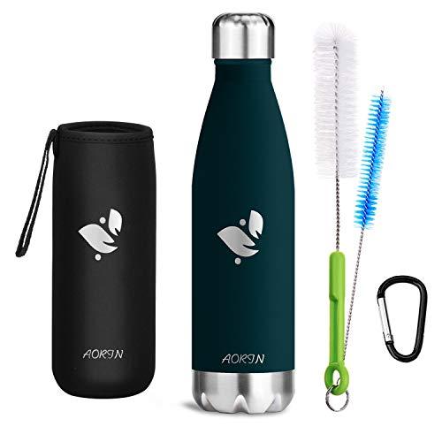 AORIN Vakuum-Isolierte Trinkflasche aus Hochwertigem Edelstahl - 24 Std Kühlen & 12 Std Warmhalten Pulverlackierung Kratzfestigkeit Leicht zu reinigen. (750ml, Dunkelgrün)
